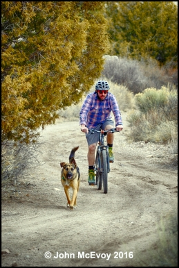 Kevin Haas and his dog riding at the old Stone Quarry between Del Norte and Monte Vista, Colo.